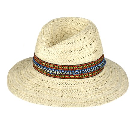 Vbiger Men Women Breathable Straw Sun Hat Foldable Wide Brim Hat  Lightweight Floppy Hat Portable Outdoor Beach Cap with Ribbon Decor 1d0be6c86c90