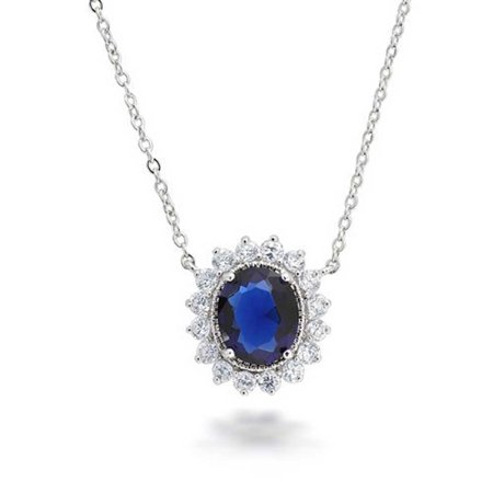 Oval Royal Blue Pendant Necklace For Women Simulated Sapphire CZ Halo Crown Rhodium Plated Brass 16inch
