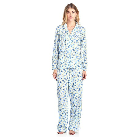 Casual Nights Women's Long Sleeve Floral Button Down Pajama Set - Cheap Plus Size Onesies