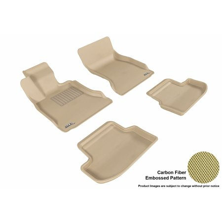 3D MAXpider Stylish Custom Fit All Weather Floor Mats for 2015-2016 BMW 5 Series (F10) Front & Second Row in Tan with Carbon Fiber Look