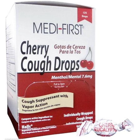 Medi-First Cherry Cough Drops Menthol 7.6mg Tablets 125 Per Box by Medique MS-75890