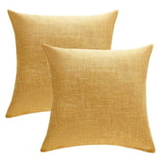 Wendana Set of 2 Mustard Yellow Decorative Throw Pillow Covers 18x18 Inch for Sofa Couch Decor Rustic Cushion Cover Pillowcase