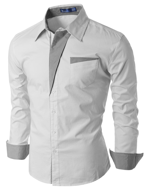 Doublju Mens Slim Fit Cotton Long Sleeve Button Down Shirts