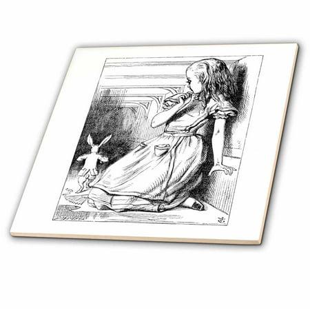 3dRose Follow the white rabbit. Alice in Wonderland John Tenniel illustration - Ceramic Tile,