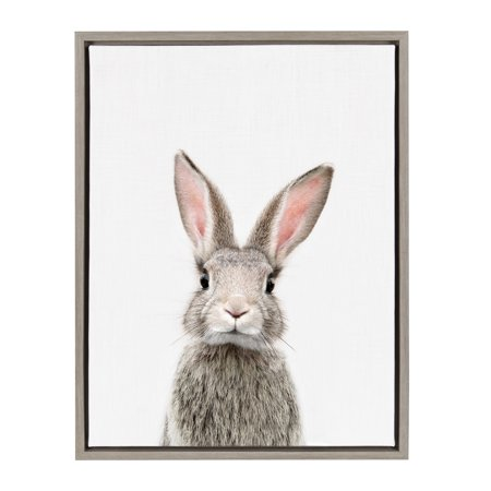 Kate and Laurel Sylvie Female Baby Bunny Rabbit Animal Print Portrait Framed Canvas Wall Art by Amy Peterson, 18x24 (Bunny Canvas Art)