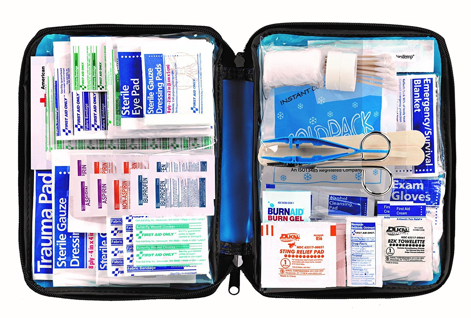 All-purpose First Aid Kit, Soft Case with Zipper, 299-Piece Kit, Large, Color Varies, Pouch Therapy medical Easy Nylon Waterproof Trifold... by