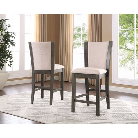 Roundhill Furniture Kecco Solid Wood Gray Counter Height Stools, Set of 2 ()
