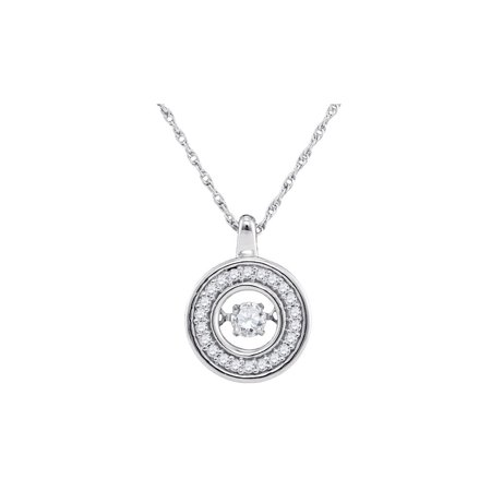 1/10 Carat (ctw H-I, I1-I2) Diamond Circle Pendant Necklace in 10K White Gold with Chain