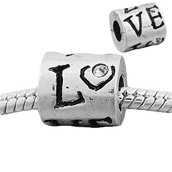 "Clear Rhinestone ""Love"" Charm Bead. Compatible With Most Pandora Style Charm Bracelets."