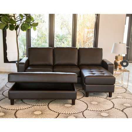 Pleasant Abbyson Magnolia Tufted Leather Reversible Sectional Sofa With Ottoman Gmtry Best Dining Table And Chair Ideas Images Gmtryco