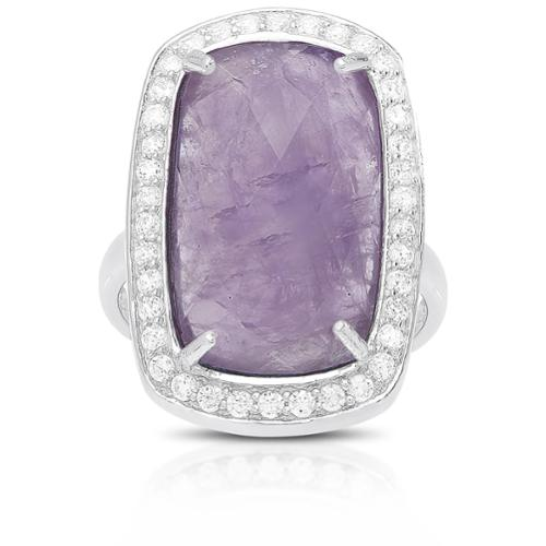 Dolce Giavonna Sterling Silver Gemstone and Cubic Zirconia Cocktail Ring Crackled amethyst, size 8