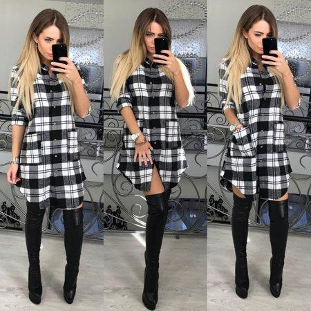 women's V-neck long-sleeved tartan checks checkered plaid shirt dress with pockets casual loose irregular midi dress Asian size (Tartan Plaid Dress)