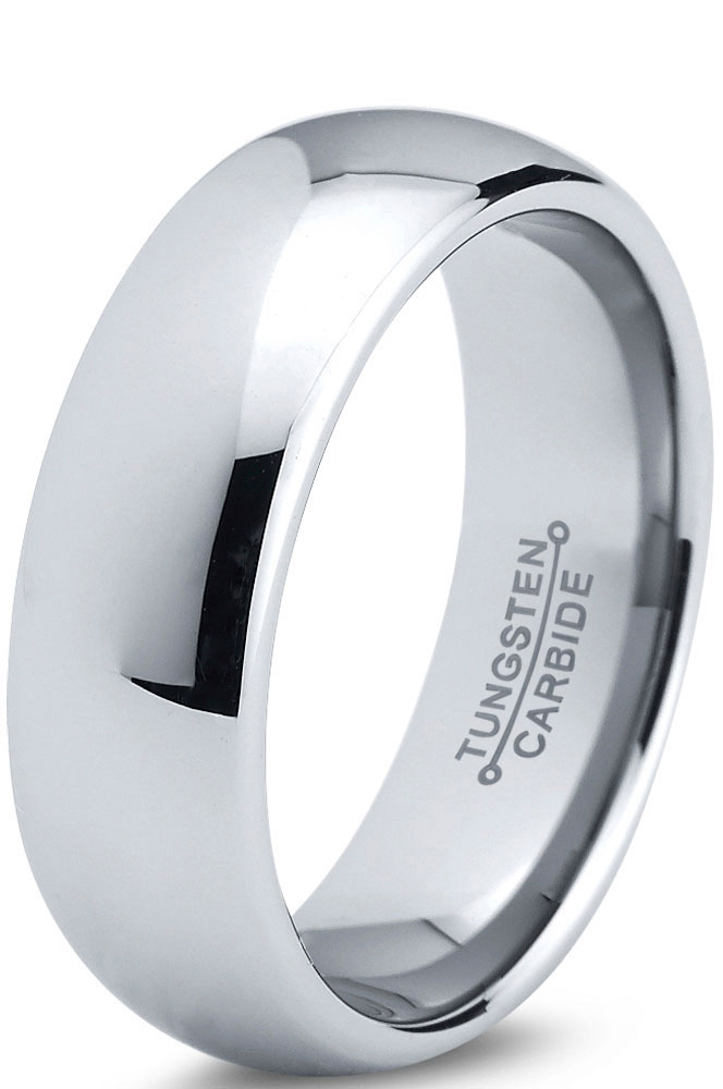 Tungsten Wedding Band Ring 7mm for Men Women Comfort Fit Domed Round Polished Lifetime Guarantee