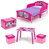 Disney Minnie Mouse 4-Piece Toddler Bed Bedroom Set with BONUS Fabric Toy Box
