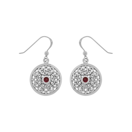 - Jewelry Trends Sterling Silver Celtic Knot Round Shield Dangle Earrings with Synthetic Ruby