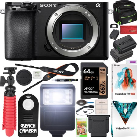 Sony a6100 Mirrorless Camera 4K APS-C Body Only Interchangeable Lens Camera ILCE-6100B with Deco Gear Case + Extra Battery + Flash + Wireless Remote + 64GB Memory Card + Software + Accessories Bundle (Wireless Flash Card)