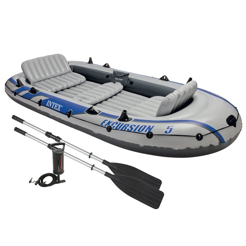 Intex Excursion 5 Inflatable Rafting/Fishing Boat Set With 2 Oars | 68325EP