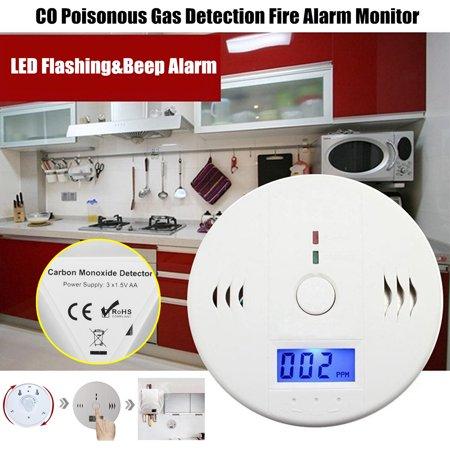 Fire Detection Sensor - Digital Display Safety CO Carbon Monoxide Gas Fire Sensor LED Home Security Flashing&Beep Alarm Detectors Monitor Sensor Alert Warning Detector Tester Poisonous Gas Detection Alarm Battery