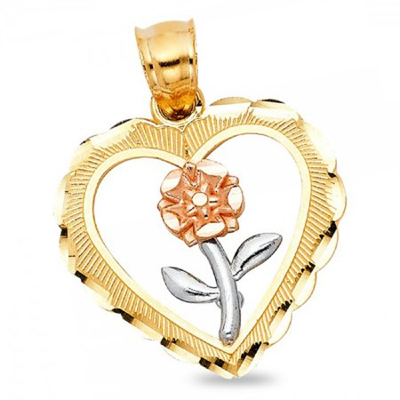 Heart & Rose Pendant Solid 14k Yellow White Rose Gold Charm Diamond Cut Style Fancy Tri Color 21 x 21 mm