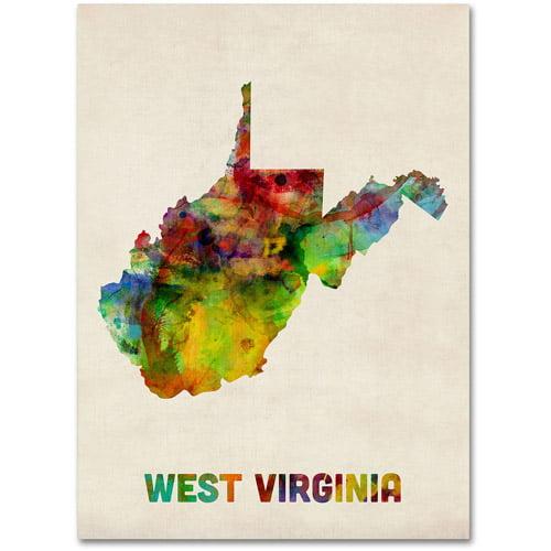 """Trademark Fine Art """"West Virginia Map"""" Canvas Wall Art by Michael Tompsett"""