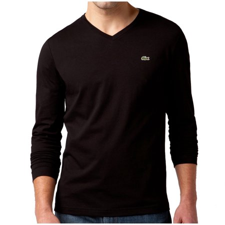 0f5d7249a8 Lacoste Men's Long Sleeve Pima Jersey V-Neck T-Shirt