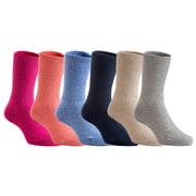 Lian Style 6 Pairs Pack Children Wool Socks Plain Color Size 1Y-3Y (Blue,Gray,Navy,Rose,Orange,Beige)