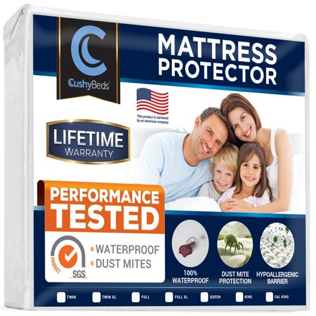 Premium Mattress Protector Cover by CushyBeds - Lab Tested 100% Waterproof, Hypoallergenic, Breathable Cool Flow, Noiseless, No Crinkling, Allergy & Vinyl Free - (Up to 18
