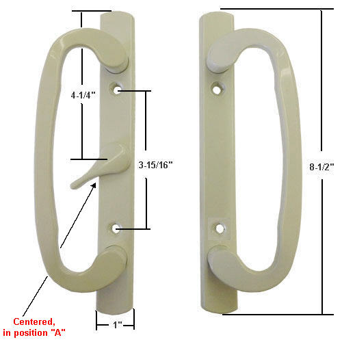 "Sliding Glass Patio Door Handle Set, Mortise Type, A-Position, Centered Latch Lever, Non-Keyed, Beige, 3-15/16"" Screw Holes"