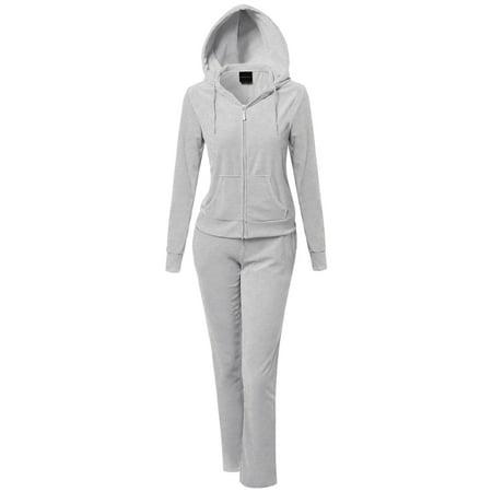 FashionOutfit Women's Athletic Soft Velour Zip Up Hoodie Sweatpants Set