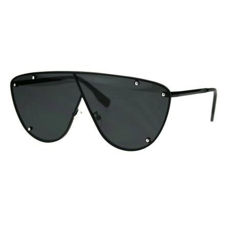 Unisex Robotic Asymetrical Bridge Line Shield Flat Top Racer Sunglasses Matte -