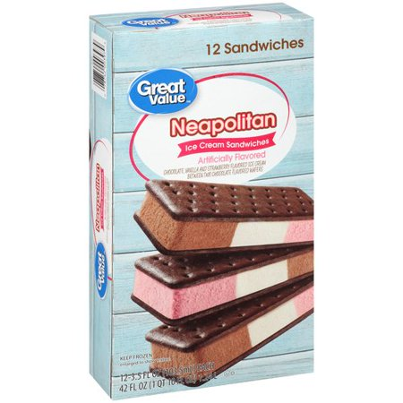 Great Value Neapolitan Ice Cream Sandwiches, 42 oz, 12 Count