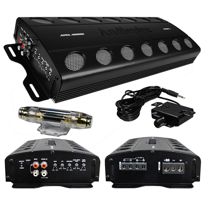 AUDIOPIPE 1800W CLASS D AMPLIFIER OVERLOAD/OVERHEAT PROTECTION REMOTE WOOFER VOLUME CONTROL-APCL18001D