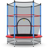 Costway Youth Jumping Round Trampoline 55'' Exercise W/ Safety Pad Enclosure Combo Kids