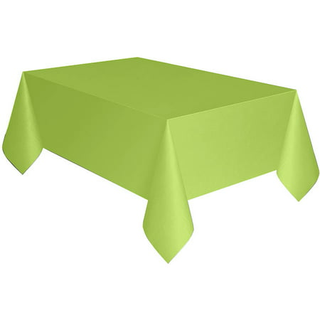 Plastic Tablecloth, 108 x 54 in, Neon Green, 1ct