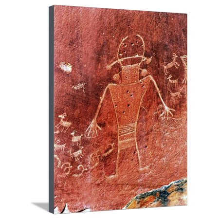 Native American Rock Art - Native American Indian Fremont Petroglyphs Sandstone Mountain Capitol Reef National Park Torrey Stretched Canvas Print Wall Art By William Perry