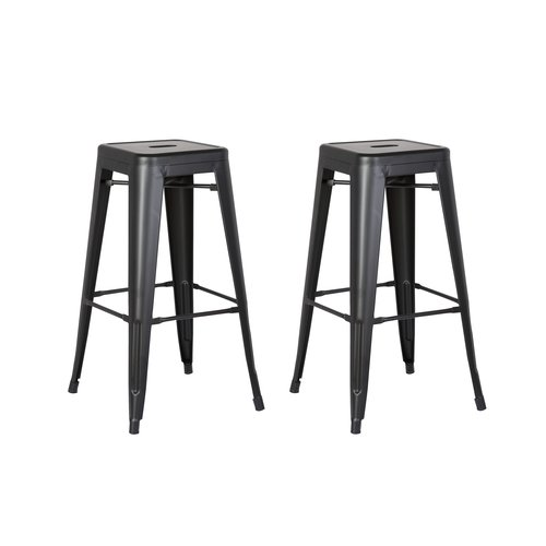 Image of AC Pacific Backless Metal Barstool, Matte Black, 30 -inch, Set of 2