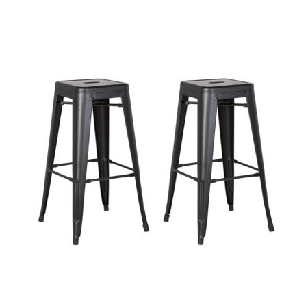 AC Pacific Backless Metal Barstool, Matte Black, 30 -inch, Set of 2 ()