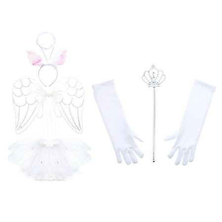 Childrens Clothing Shops (Pretend Play Dress Up Mozlly White Angel Childrens Tutu Costume Set (3pc Set) and Mozlly White Royal Wand and Gloves Set (3pc)