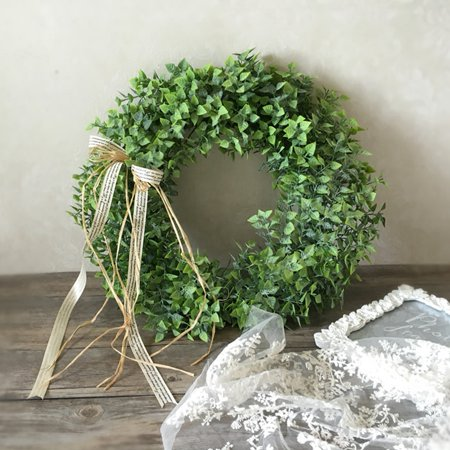 Artificial Leaf Wreath With Bow Door Hanging Wall Window Decoration Wreath Holiday Festival Wedding Decor  Style B Color Style A