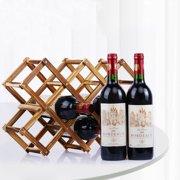 Foldable Wood Wine Rack Holder Storage Table Free Standing Rustic Wooden Racks Countertop Decor Organizer - Carbonized Wood, 10/6 Slot