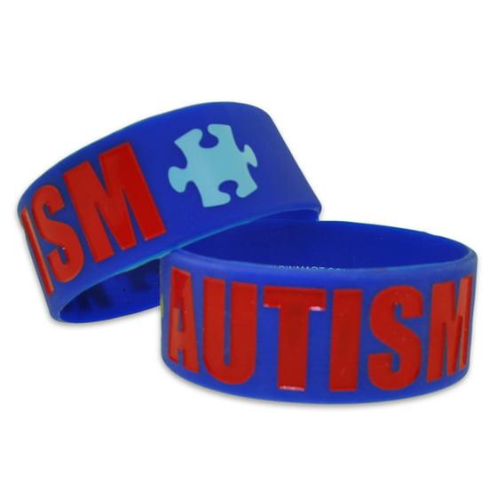 Autism Awareness Puzzle Piece Wide Rubber Silicone Bracelet