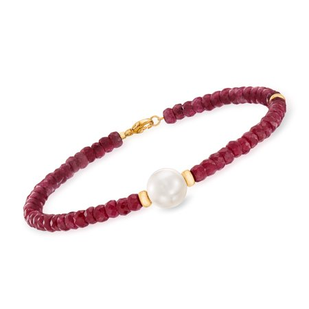 Ross-Simons 26.00-30.00 ct. t.w. Beaded Ruby Bracelet With 10mm Cultured Pearl in 14kt Yellow Gold Mother Of Pearl Beaded Bracelets