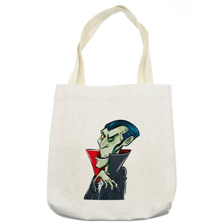 Halloween Vampire Cartoons (Halloween Tote Bag, Cartoon Style Spooky and Funny Vampire Character Count Dracula with Cape, Cloth Linen Reusable Bag for Shopping Books Beach and More, 16.5