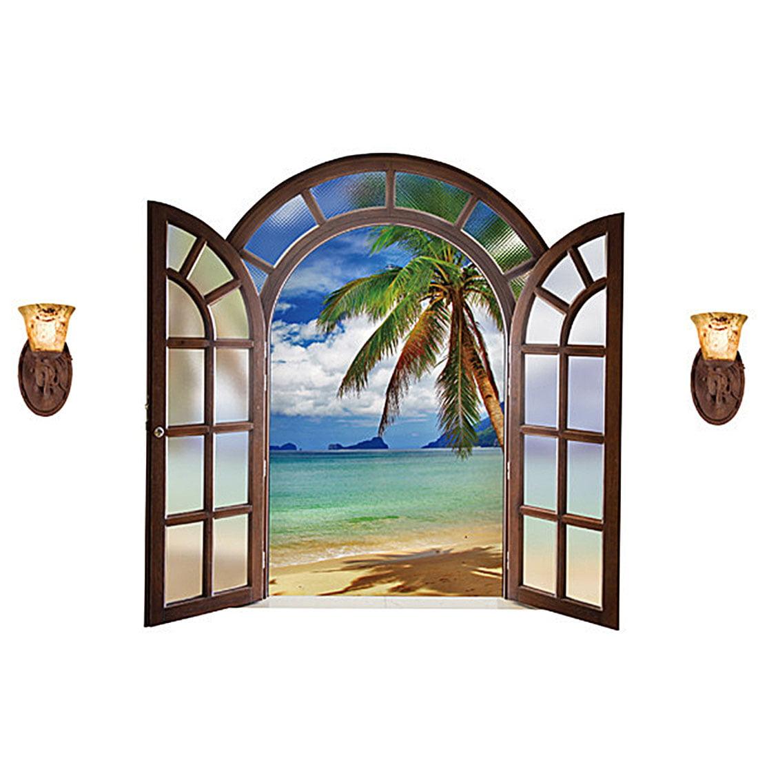 Unique Bargains Office PVC Seascape Print Window Film Protector Wall Decal Sticker Wallpaper