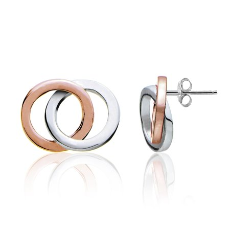 Rose Tone over Sterling Silver Two-Tone Double Circle Polished Stud Earrings Circle Two Tone Earrings