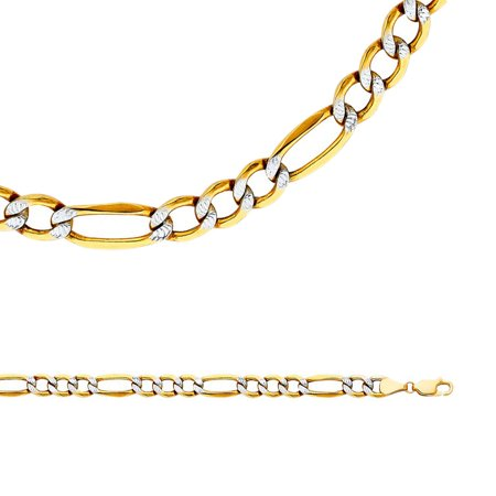 Crislu Pave Necklace (Figaro Necklace Solid 14k Yellow White Gold Chain Pave Hollow Links Big Two Tone , 6.5 mm - 20,22,24,26 inch )