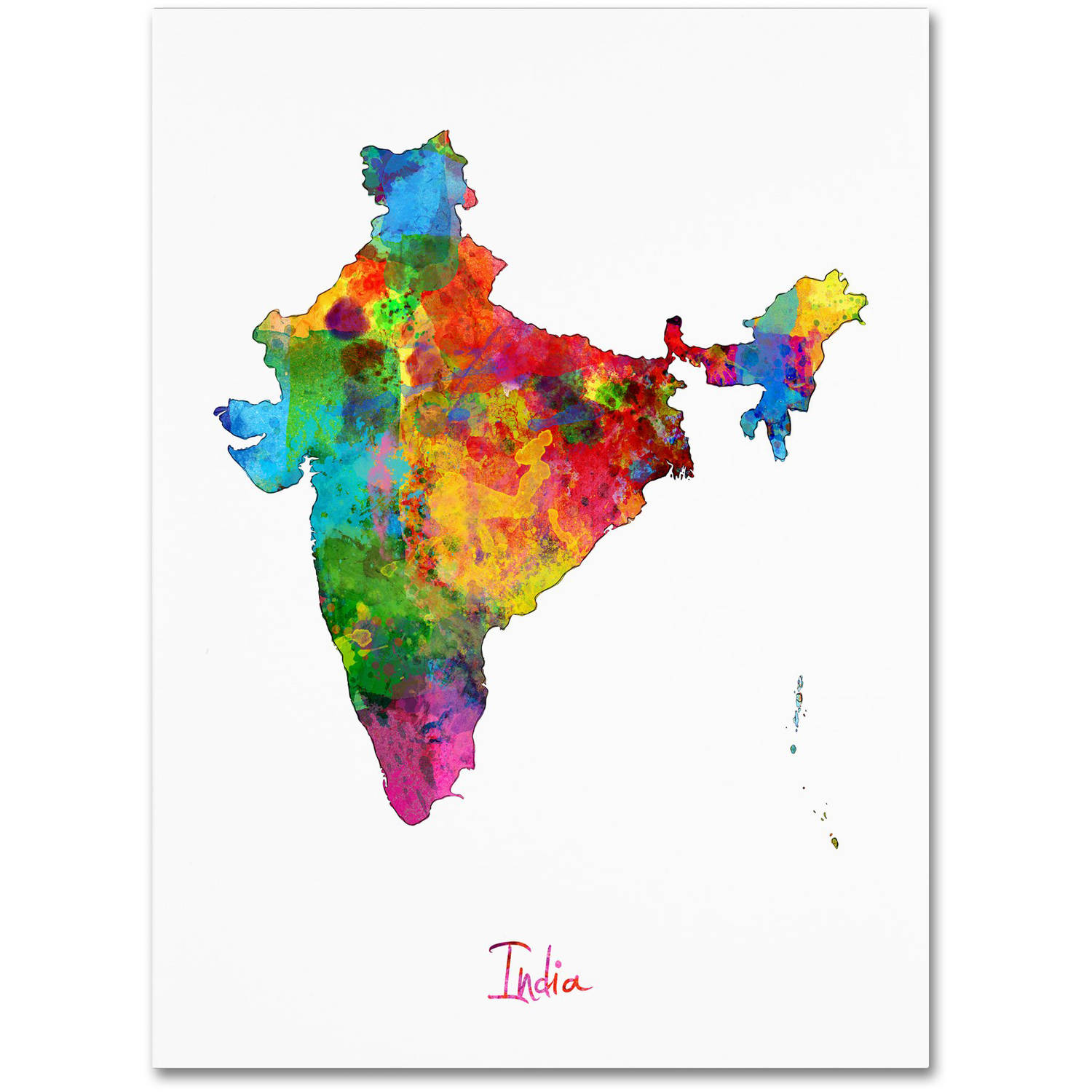 Trademark Fine Art India Watercolor Map Canvas Art By Michael