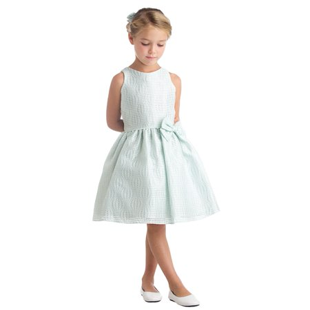 Sweet Kids Little Girls Mint Hot Air Balloon Stripe Flower Girl Dress