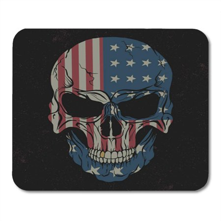 KDAGR American Skull Black USA Flag on It Design for Tattoo Face Grungy Denim Halloween Mousepad Mouse Pad Mouse Mat 9x10