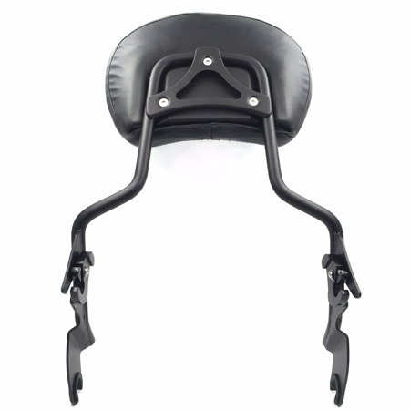 HTT adjustable Flat Black Backrest Sissy Bar w/ Leather pad w/ Hollow-out Mounting Plate For ALL YEAR Harley Davidson Touring FLHR- Road King FLHX- Street Glide (NEED DOCKING,SOLD SEPARATELY) - Harley Davidson Plates